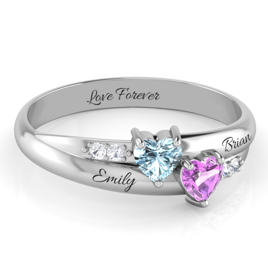 DUAL HEART WITH SHIMMERING DIAMOND ACCENT STONES