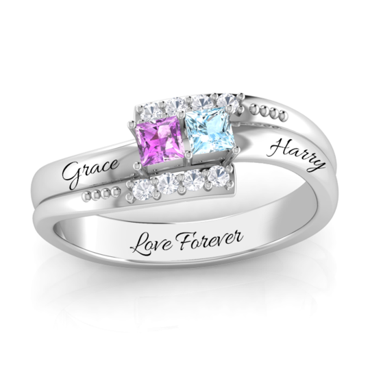 THE DOUBLE PROMISE RING WITH DIAMOND ACCENTS