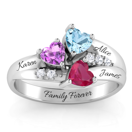TRIPLE BIRTHSTONE RING WITH DIAMOND ACCENT STONES