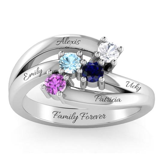 4 PEAR CUT FAMILY GEMSTONE RING