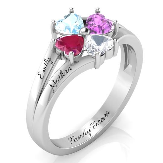 FAMILY FOREVER WITH 4 DAZZLING HEARTS RING