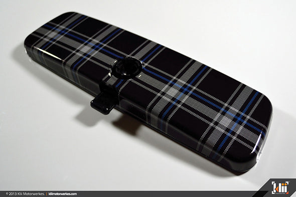 Klii Motorwerkes Interior Rear View Mirror Wrap - Mk6 Plaid (TDI Blue) (Universal)
