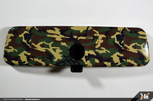 Interior Rear View Mirror Wrap - Woodland Camo