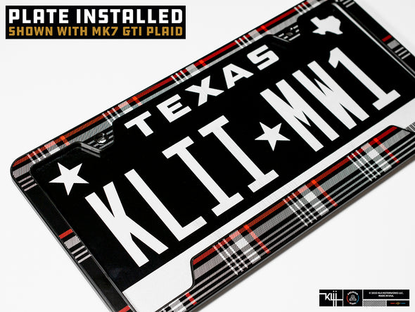 VW Volkswagen Premium License Plate Frame - Mk6 GTI Plaid