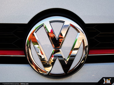 VW Front Badge Insert - White Silver Metallic