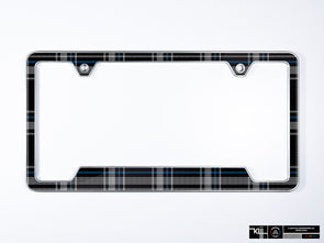 VW Volkswagen Premium License Plate Frame - Mk6 Blue Plaid (Silver)
