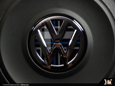 Klii Motorwerkes VW Steering Wheel Badge Insert - Mk6 Blue Plaid