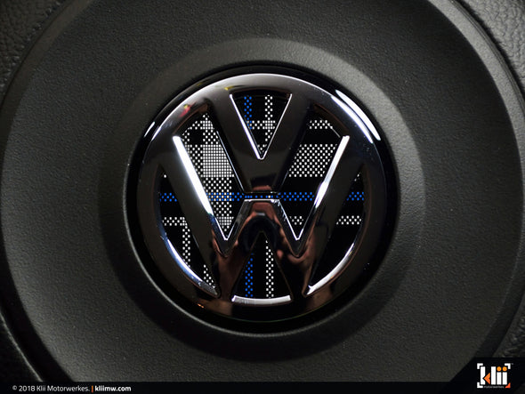 VW Steering Wheel Badge Insert - Mk6 Blue Plaid