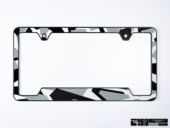 Jon Olsson Audi Premium License Plate Frame - Abstract Arctic Camo (Black)
