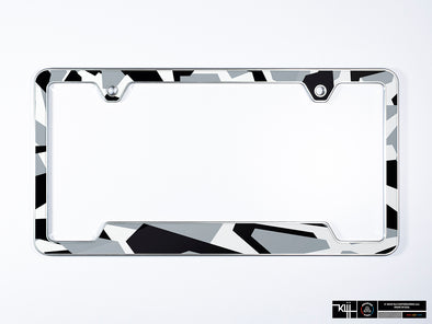 Jon Olsson Audi Premium License Plate Frame - Abstract Arctic Camo (Silver)