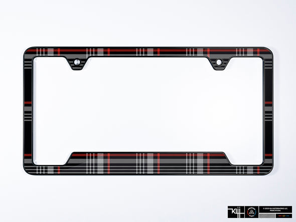 VW Volkswagen Premium License Plate Frame - Mk7 GTI Plaid (Black)