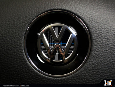 VW Steering Wheel Badge Insert - Mk7 Blue Plaid