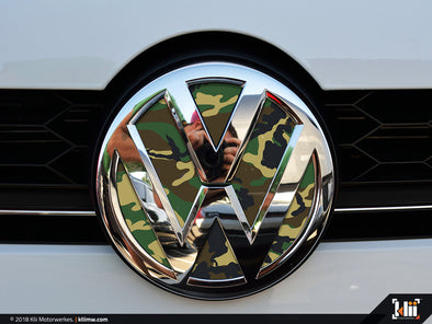 VW Front Badge Insert - Woodland Camo