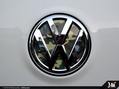 VW Rear Badge Insert - Woodland Camo
