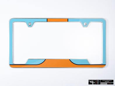 Gulf Oil Premium License Plate Frame - Racing Livery No.1 (Silver)