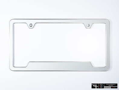 VW Volkswagen Premium License Plate Frame - Oryx White Pearl (Silver)