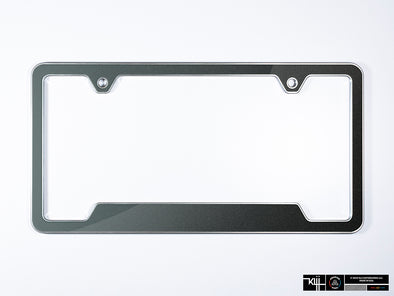 VW Volkswagen Premium License Plate Frame - Carbon Steel Gray Metallic (Silver)