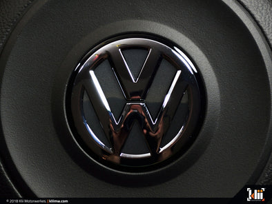 Klii Motorwerkes VW Steering Wheel Badge Insert - Carbon Steel Gray Metallic