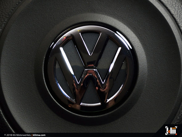 VW Steering Wheel Badge Insert - Carbon Steel Gray Metallic