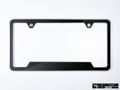 VW Volkswagen Premium License Plate Frame - Deep Black Pearl Metallic (Silver)