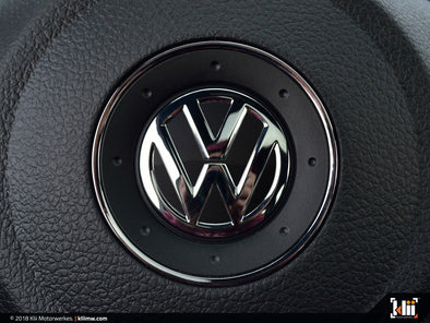 VW Steering Wheel Badge Insert - Deep Black Pearl Metallic