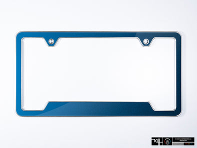 VW Volkswagen Premium License Plate Frame - Silk Blue Metallic (Silver)