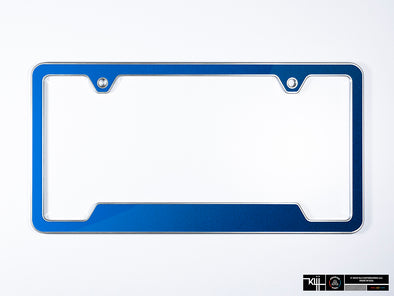 VW Volkswagen Premium License Plate Frame - Rising Blue Metallic (Silver)