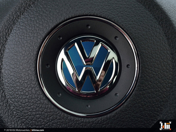 VW Steering Wheel Badge Insert - Shadow Blue Metallic