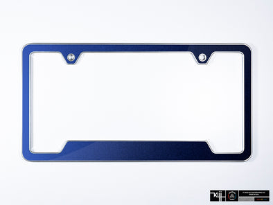 VW Volkswagen Premium License Plate Frame - Night Blue Metallic (Silver)