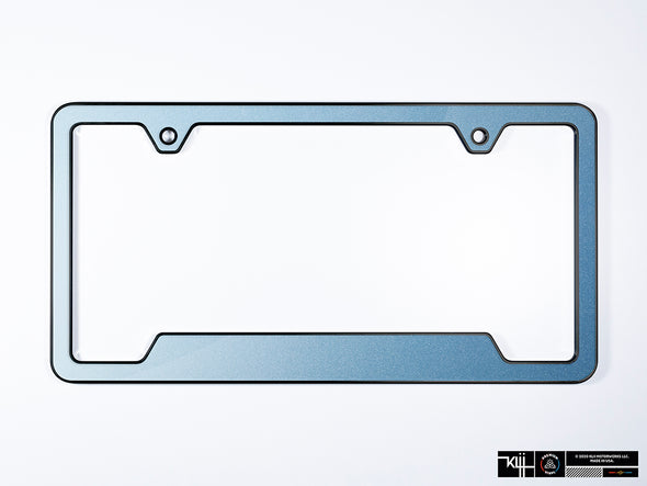 VW Volkswagen Premium License Plate Frame - Shark Blue Metallic (Black)