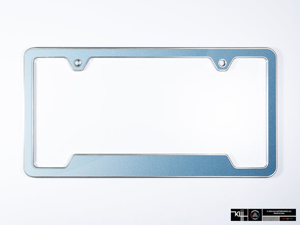 VW Volkswagen Premium License Plate Frame - Shark Blue Metallic (Silver)