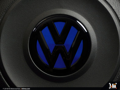 Klii Motorwerkes VW Steering Wheel Badge Insert - Lapiz Blue Metallic