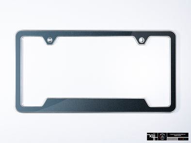 Premium License Plate Frame - Dark Iron Blue Metallic