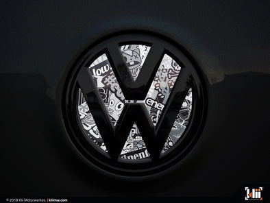 VW Rear Badge Insert - Stickerbomb Noir