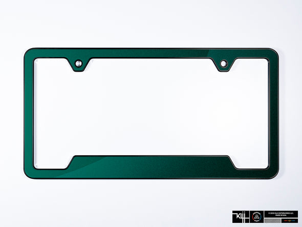 VW Volkswagen Premium License Plate Frame - Great Falls Green Metallic (Black)