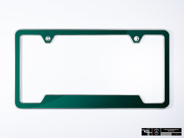 VW Volkswagen Premium License Plate Frame - Great Falls Green Metallic (Silver)