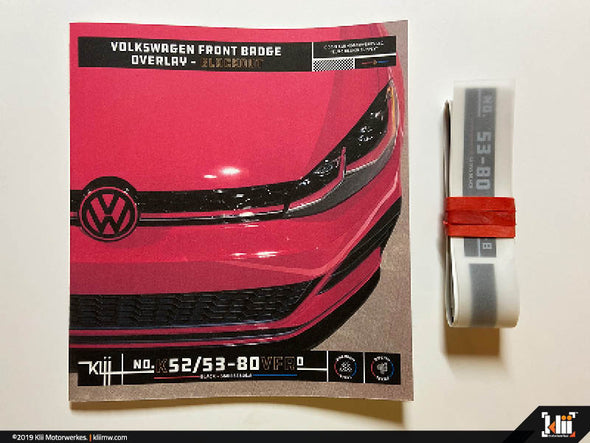 Klii Motorwerkes VW Front Badge Overlay Kit - Gloss Blackout