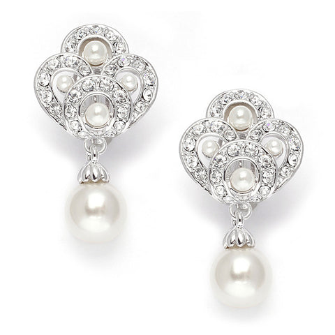 Pearl drop wedding earrings