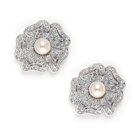 Flower CZ Pearl earrings