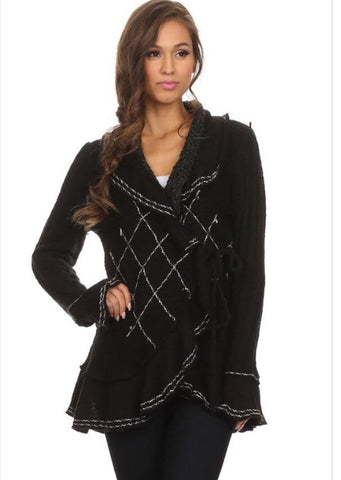 Black Wrap Around Cardigan