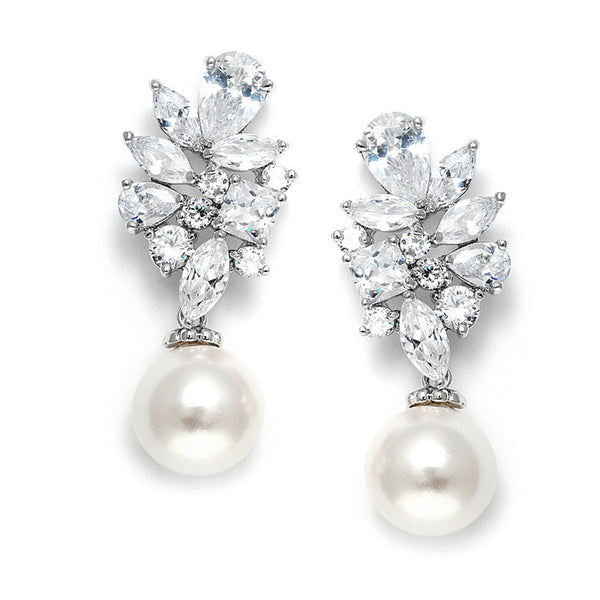 cubic ziroconia Pearl wedding  earrings