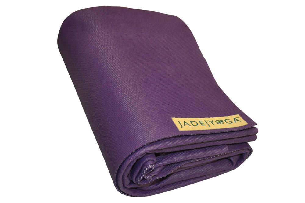 Jade Voyager Yoga mat Purple. 1.6mm Natural rubber: grippy & sustainable.