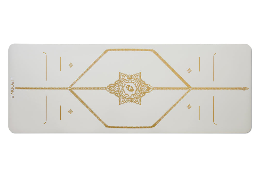 *IN STOCK* Text 96852848 'White Magic' Yoga Mat 4.2mm 73in, White/Gold