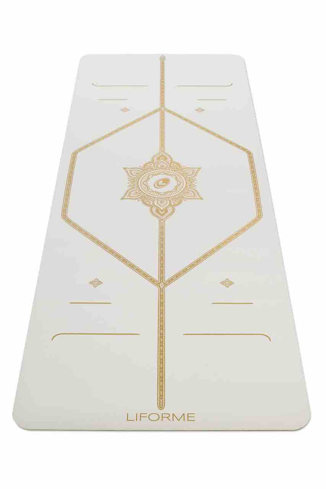 *Pre-Order: Text 9685 2848* Liforme 'White Magic' Yoga Mat 4.2mm 73in, White/Gold