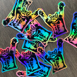 Stretch Cat Rainbow Holographic Stickers