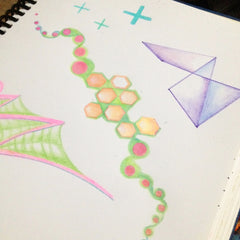 geometric colored pencil sketch