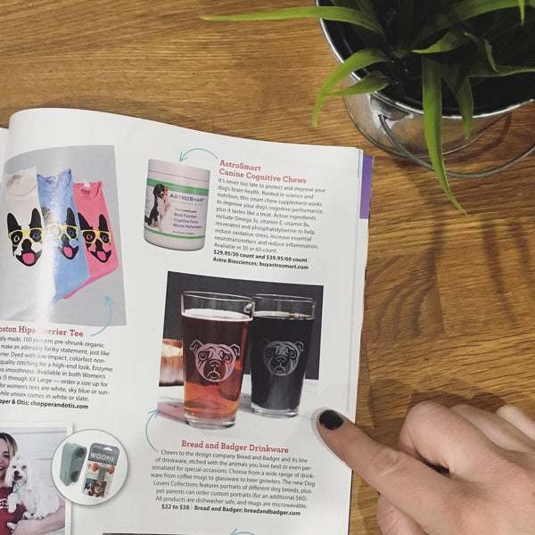 Pug Pint Glasses in Dogster mag holiday gift guide
