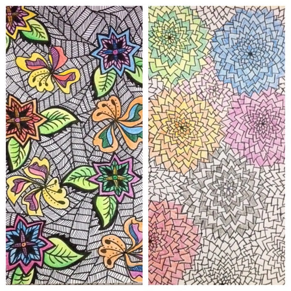 patterns and colored pencil sketches