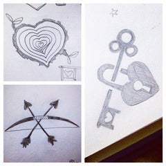 romantic heart sketches for Valentine's Day