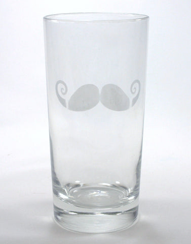 Etched-look Mustache decal on highball glass